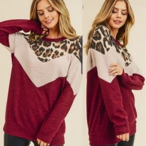 BAILEY Leopard Brushed knit Top
